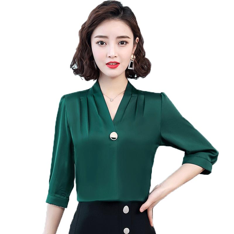 修身雪纺衬衫女夏季2020新款气质显瘦上衣女时尚v领中袖职业衬衣