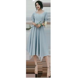 伴娘禮服女2020新款秋季緞面伴娘服仙氣質長款閨蜜裝姐妹團禮服裙
