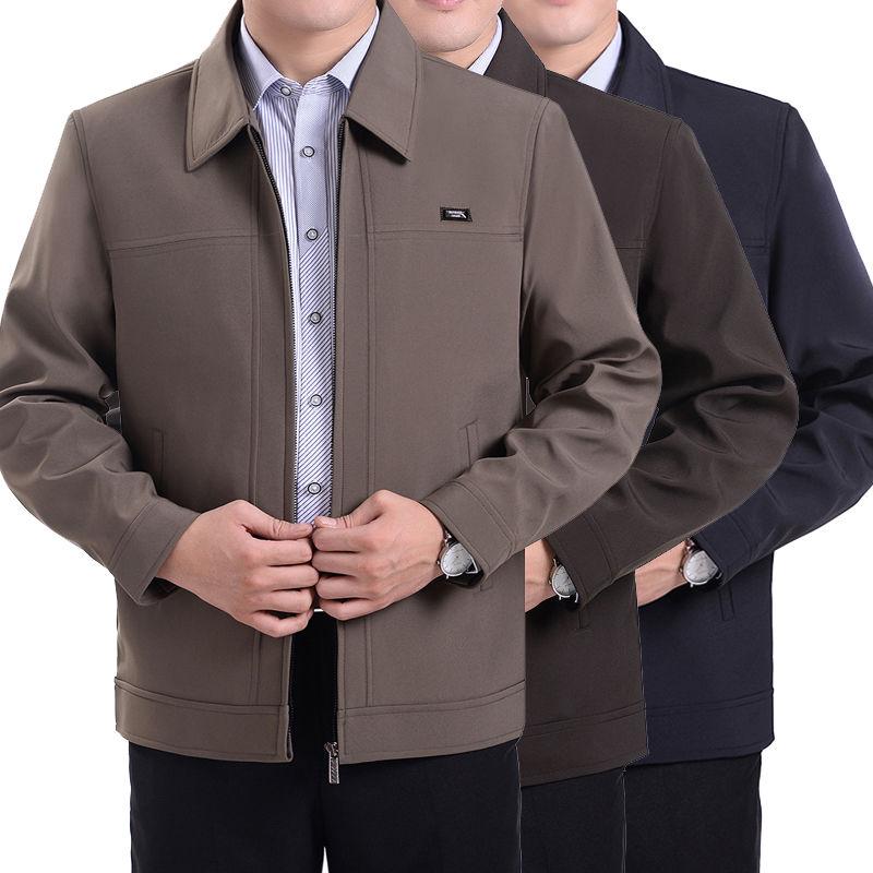 中老年夹克春秋厚款中年男士休闲夹克宽松外套爸爸装上衣外套
