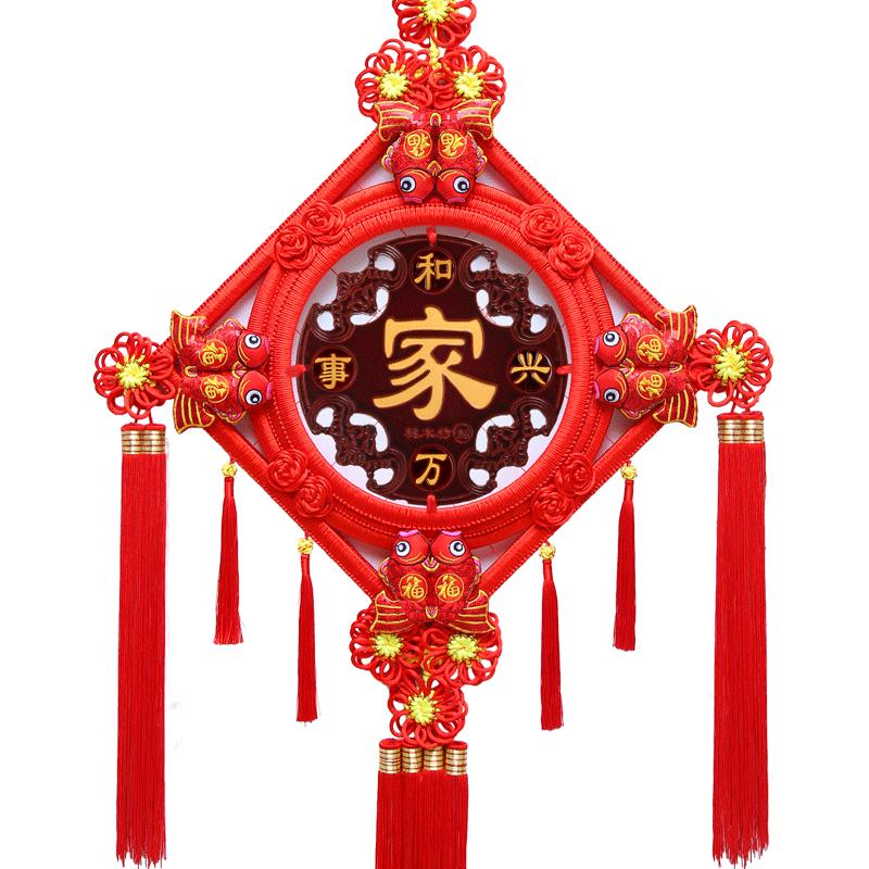 新款桃木客厅大号福字玄关中国结