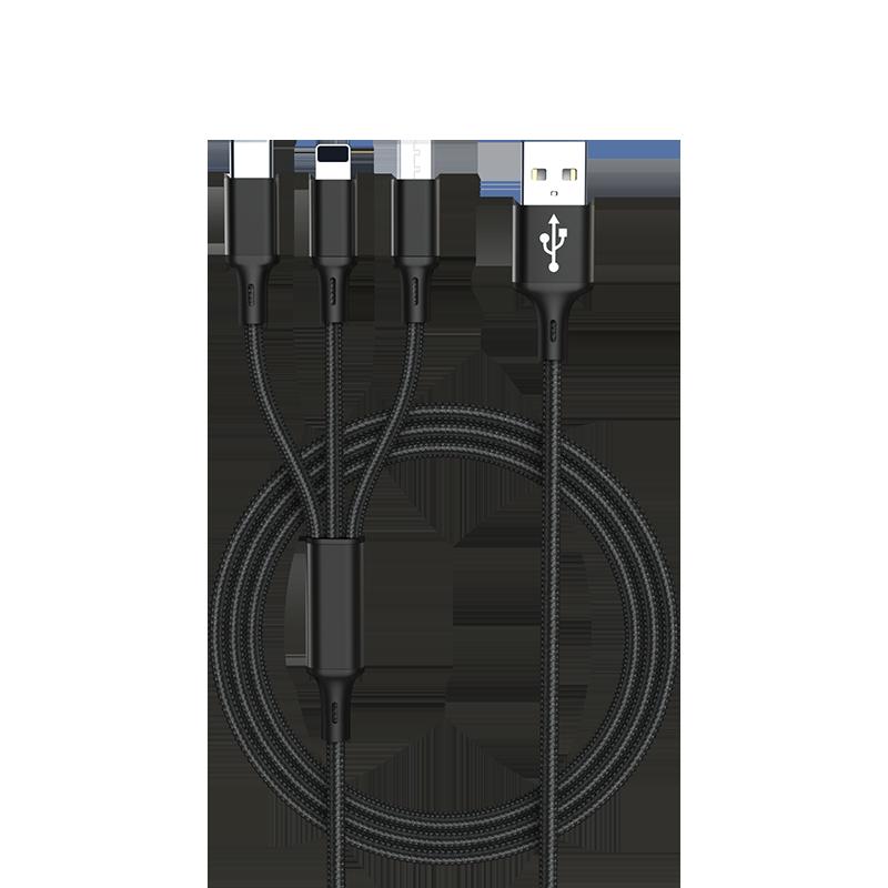 肯硕一拖三数据线iPhone6s苹果11手机充电线器正品vivo小米安卓快充华为type-c车载多功能线oppo三合一手机冲
