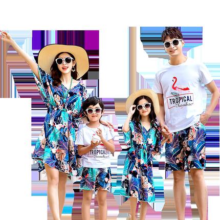 沙滩亲子装夏2019新款连衣裙