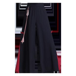 雪紡闊腿褲女2020夏新款寬鬆垂墜感褲裙中國風高腰直筒開叉九分薄