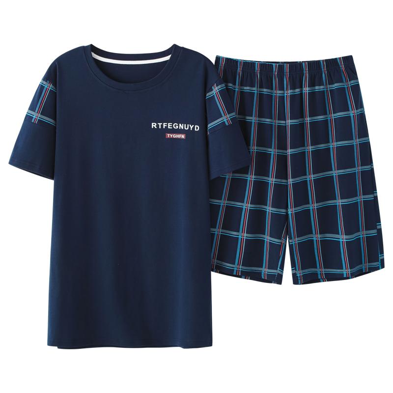 南极人男士睡衣夏纯棉短袖短裤2021年新款夏天薄款春秋家居服套装