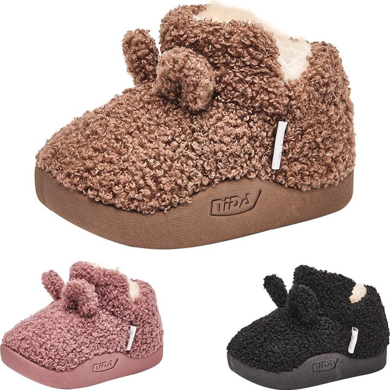 木木屋女宝宝棉鞋加绒加厚冬季儿童女童毛毛鞋一岁男宝小童鞋冬鞋