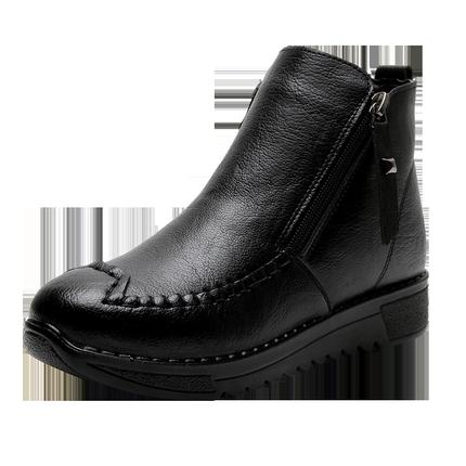 妈妈冬季平底加绒软底防滑舒适皮鞋
