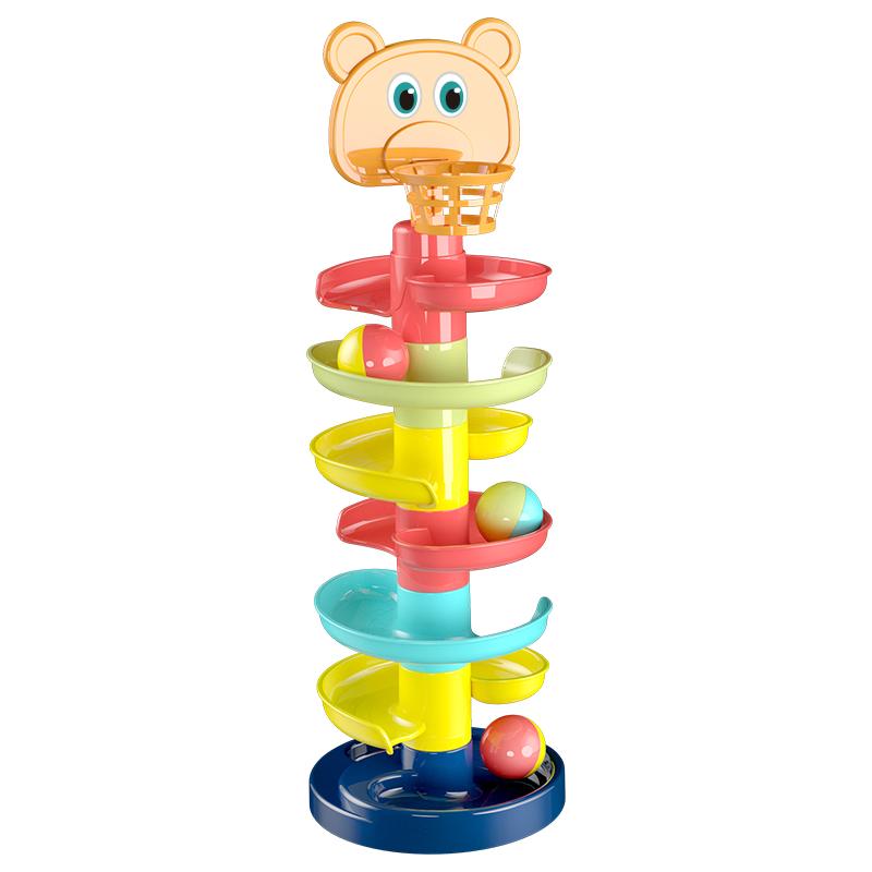 儿童益智叠叠轨道滚滚球滑球塔婴儿宝宝趣味早教转转乐1-3岁玩具