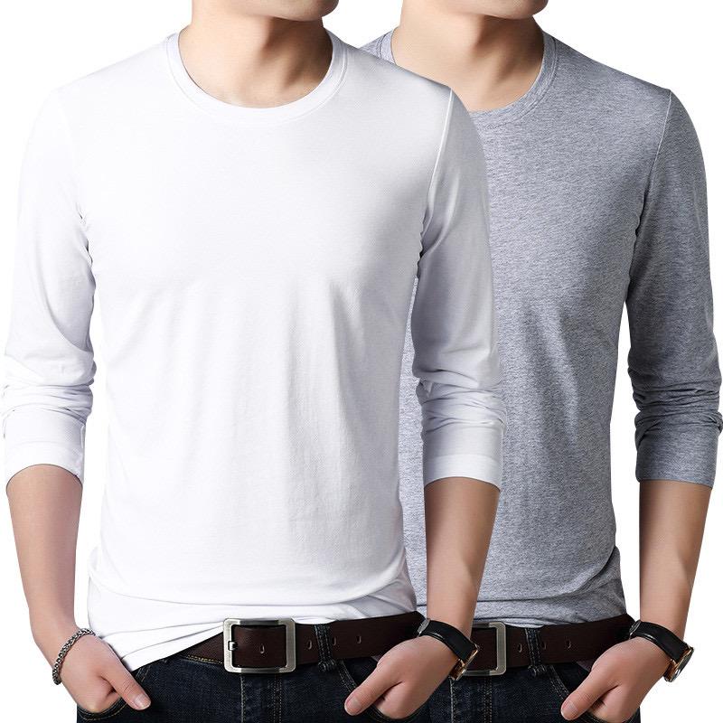 春季男士长袖T恤圆领打底衫学生百搭内衣纯色T恤韩版潮流秋衣
