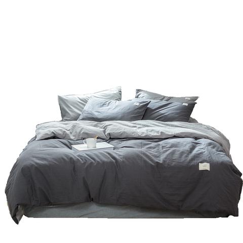 ins风北欧水洗棉四件套全棉纯棉网红款床单被子被单4件套床上用品