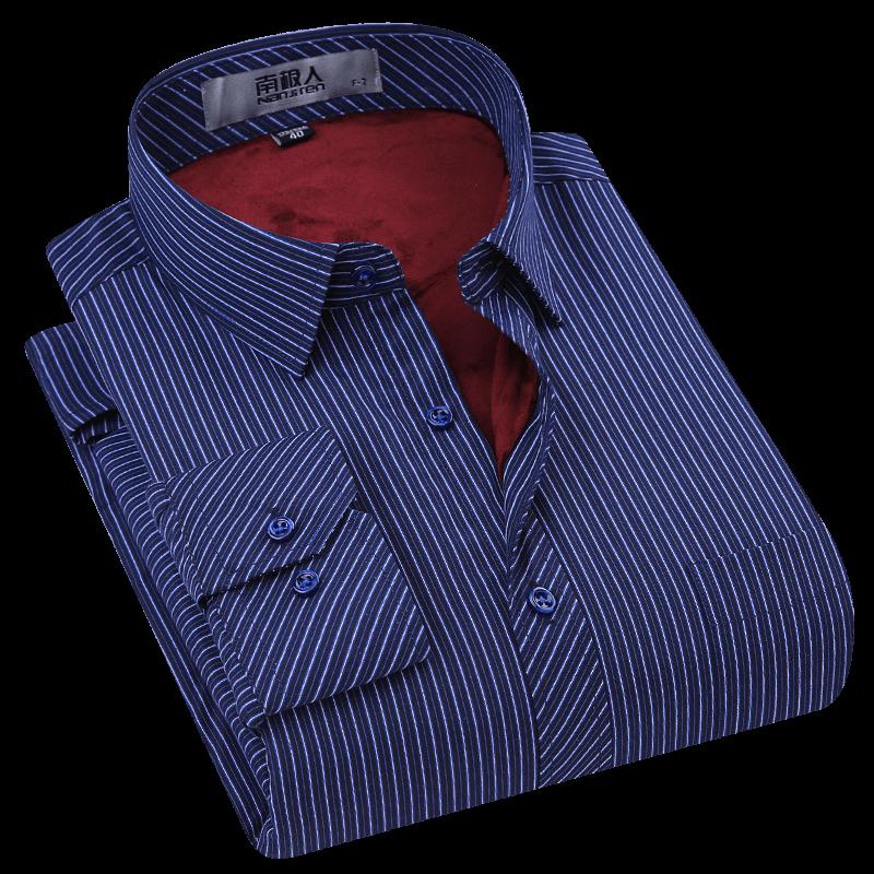 南极人保暖衬衫男长袖加绒加厚中老年爸爸装藏蓝色条纹男士衬衣冬