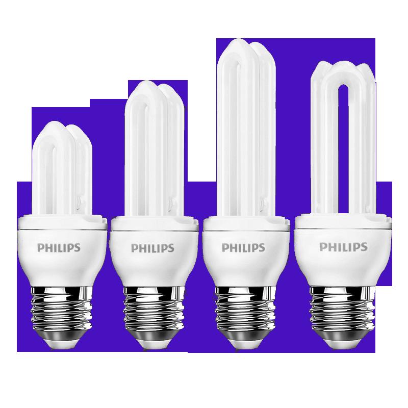 飞利浦2U节能灯螺旋U型E27E14螺口荧光灯管家用led电灯泡超亮台灯
