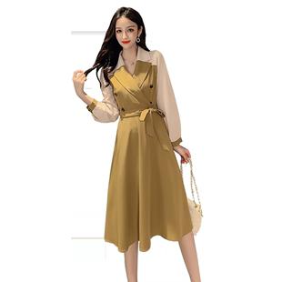 秋装2019年新款女网红收腰连衣裙