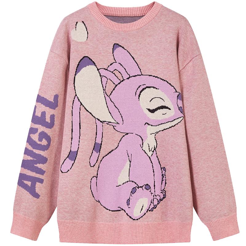 【迪士尼合作款】ONE MORE2020秋季新圆领毛衣史迪仔图案针织衫。