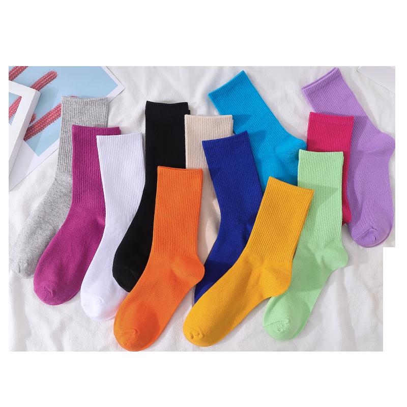 4双装女中筒纯色堆堆袜ins潮
