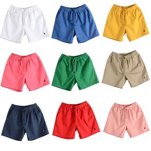 情侶純棉男女短褲五分抽繩鬆緊腰運動休閒寬鬆純色大碼沙灘褲夏薄
