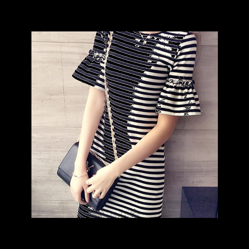 夏装经典条纹连衣裙女装韩版修身显瘦喇叭袖短袖t恤女式中长款