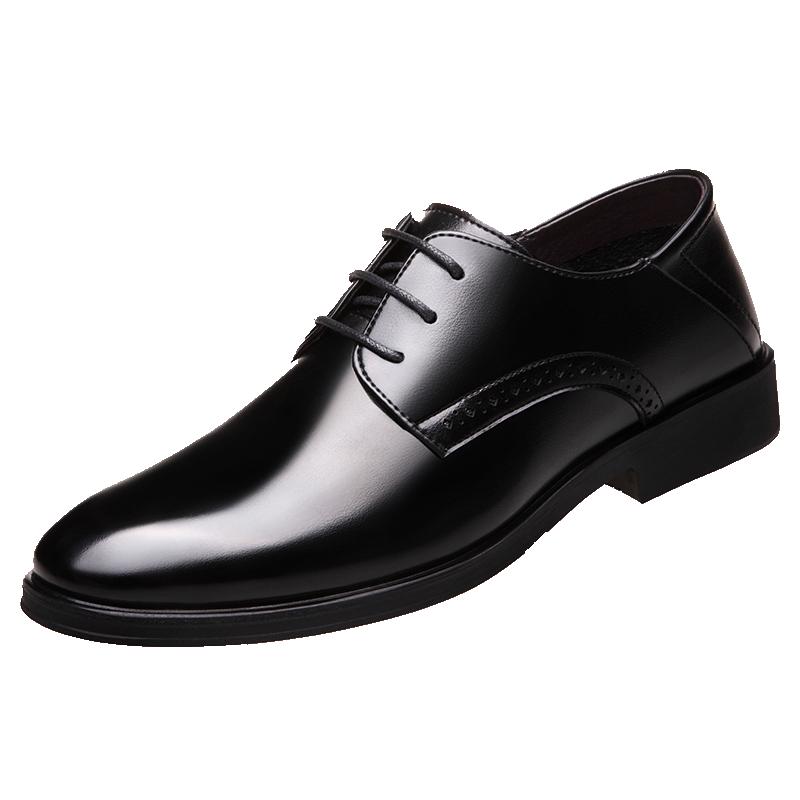 嘉妮莱男鞋夏季男士商务皮鞋黑色休闲内增高真皮大码正装韩版透气