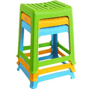 茶花塑料凳子家用加厚高凳椅子3個大號客廳方凳宿舍防滑餐桌板凳