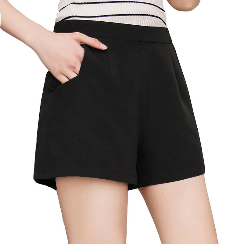 短裤女夏秋2019新款韩版高腰a字显瘦黑色西装休闲宽松雪纺阔腿裤