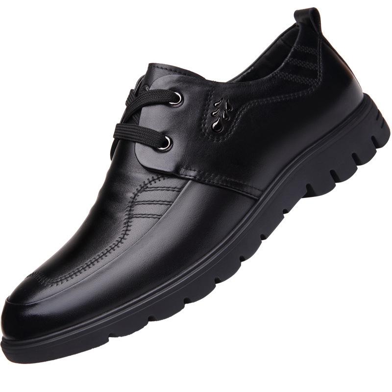 夏季男皮鞋正装商务潮流真皮青年休闲百搭鞋亮面漆皮尖头软底皮鞋