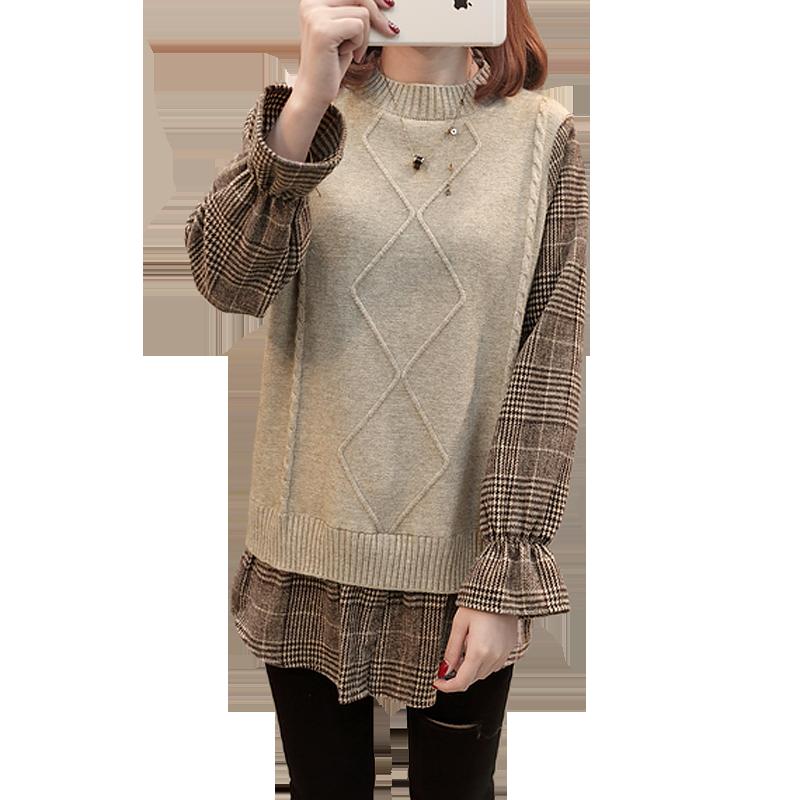 慵懒风针织衫女长袖春季2019新款拼接毛衣套头短款假两件韩版宽松