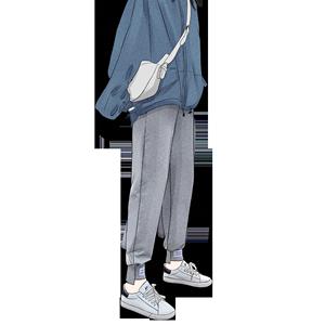 灰色秋冬季宽松bf2019新款运动裤