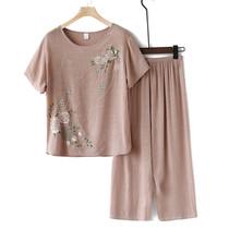 短袖年龄大女装妈妈中老年可外穿裤子2019中式舒服棉麻睡衣加大码