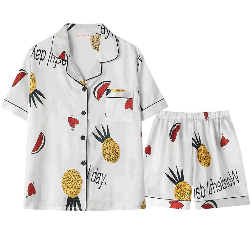 睡衣女夏短袖丝绸性感套装女士夏天薄款冰丝大码家居服短裤两件套