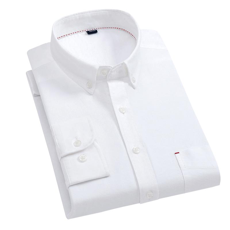 春季纯棉白衬衫男长袖