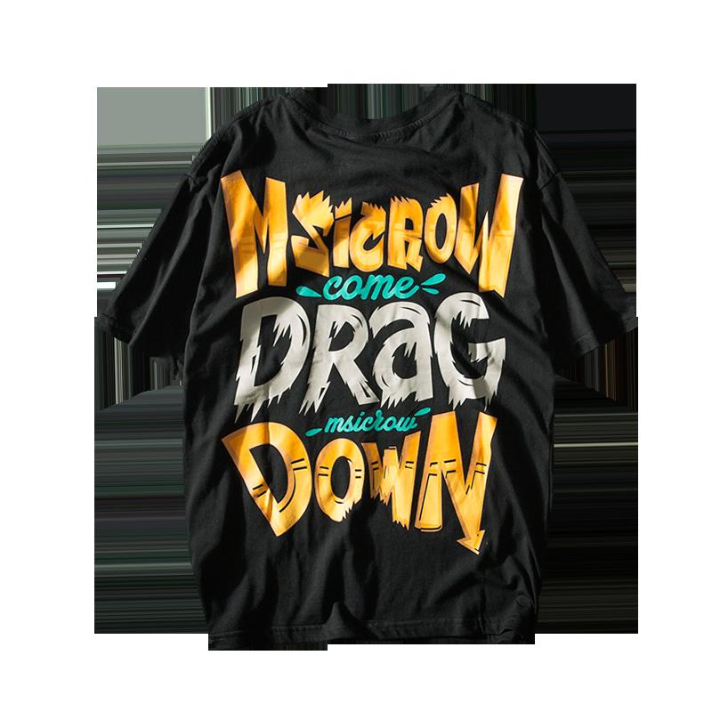夏季欧美街头宽松创意撞色字母印花短袖T恤潮牌ins嘻哈体恤半袖衫