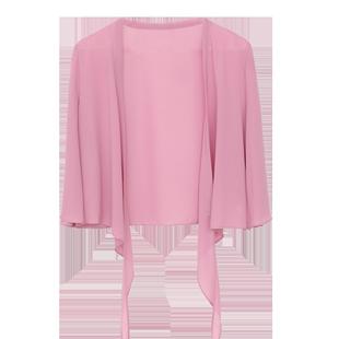披肩女夏季雪纺衫外搭沙滩防晒衫纯色大码轻薄开衫短款小外套罩衫