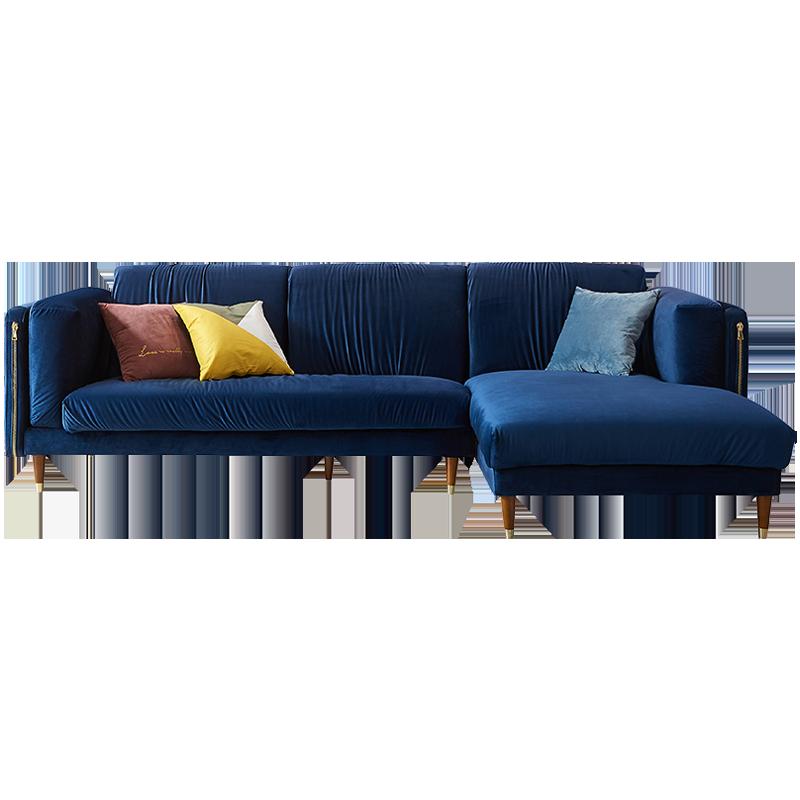 北欧轻奢布艺小户型现代简约客厅组合可拆洗转角绒布沙发套装家具