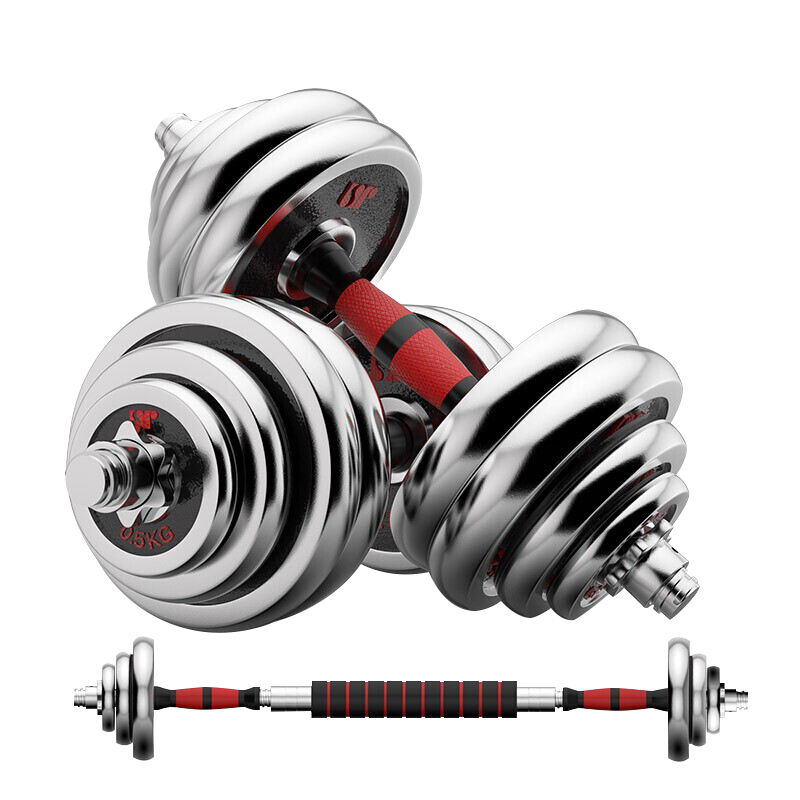 哑铃男士健身家用器材可调节重量拆卸初学者电镀亚铃杠铃套装一对
