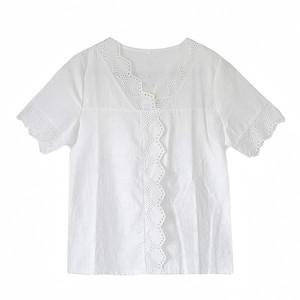 夏装2021新款v领纯棉绣花女士衬衣