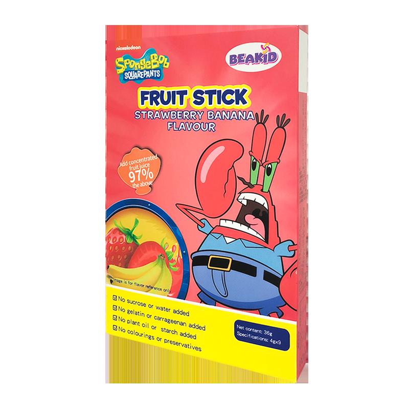 Beakid海绵宝宝水果棒草莓香蕉味无蔗糖防腐剂儿童辅助零食果肉条