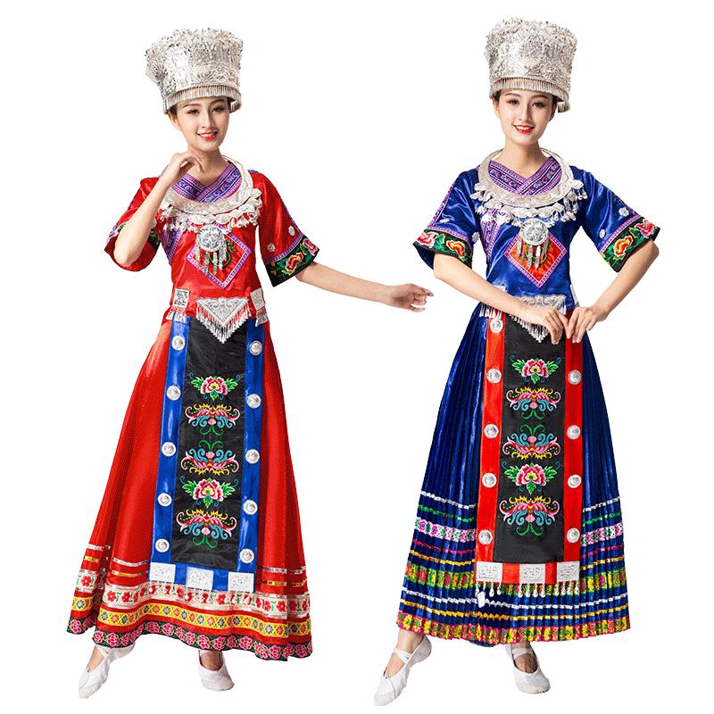 新款成人苗族演出服装女云南瑶族土家族长款刺绣少数民族舞蹈服饰