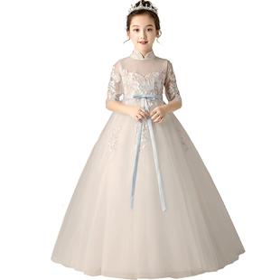 小花童公主裙女童蓬蓬紗主持人鋼琴表演服兒童婚紗生日女孩晚禮服