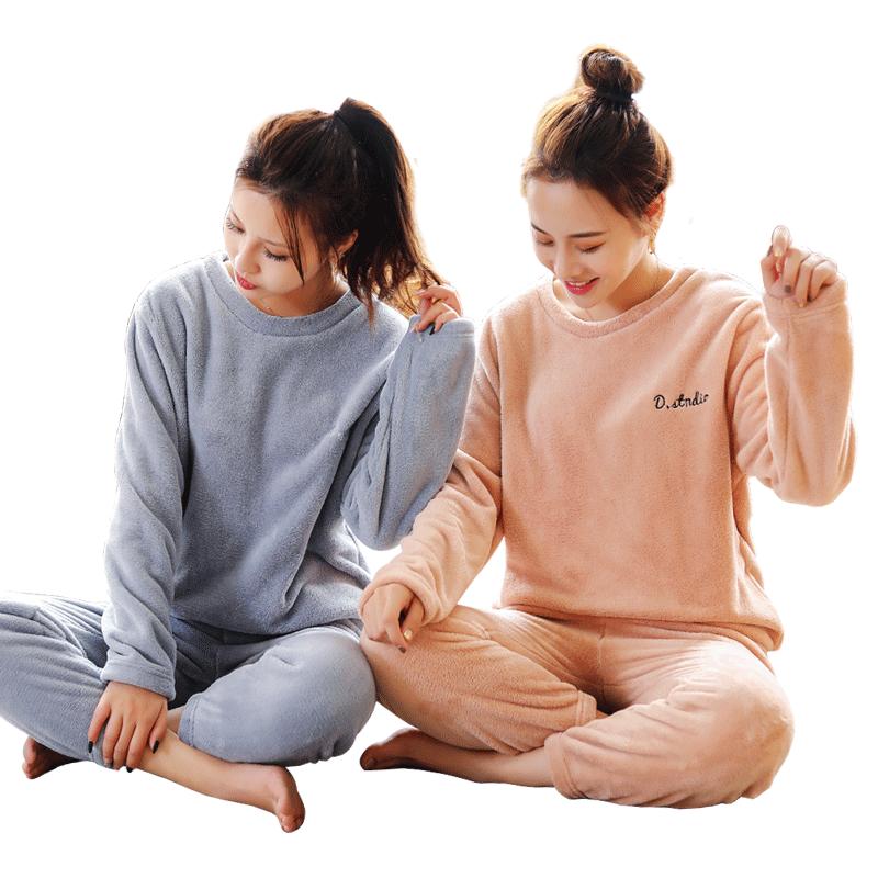 仙女暖暖裤套装女2020秋冬季加绒加厚居家休闲睡衣珊瑚绒新款两件
