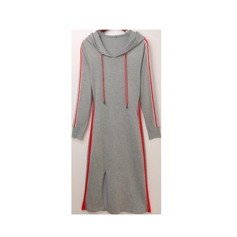卫衣裙女2019新款秋冬季女装长袖过膝长款长裙宽松连帽针织连衣裙