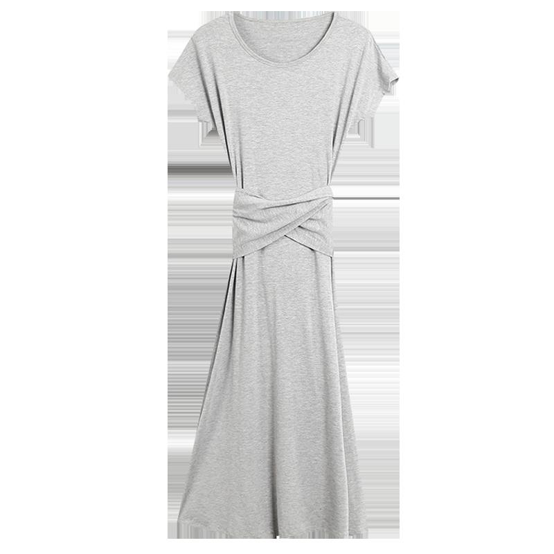 韩版春夏莫代尔修身大摆裙长裙女性感露腰小黑裙短袖连衣裙拖地裙