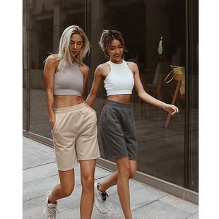 Aria 跑步瑜伽五分褲女春秋健身運動短褲寬鬆舒適透氣純棉休閒褲