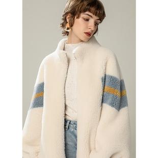 2020冬新款顆粒羊剪絨大衣皮毛一體澳洲羊羔毛短款撞色皮草外套女