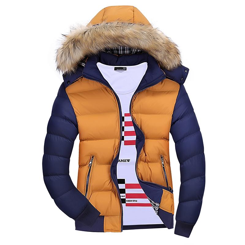 杰刻秋冬季加厚保暖棉衣男连帽棉袄毛领上衣