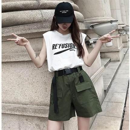 新款潮五分裤子女学生韩版宽松短裤