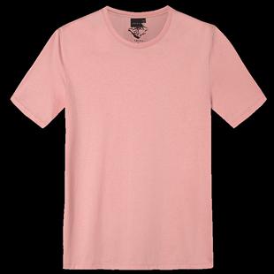 才子男裝白色T恤男夏季品牌簡約純色半袖舒適圓領純棉短袖體恤衫