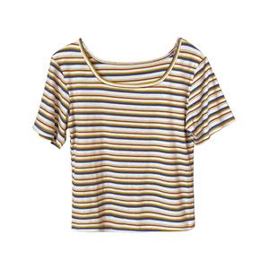 短款女夏2021年新款修身条纹t恤