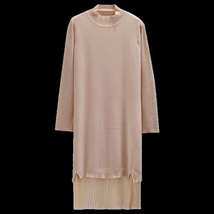 假兩件網紗裙襬針織連衣裙長袖秋裝2019年新款大碼遮肚毛衣打底裙