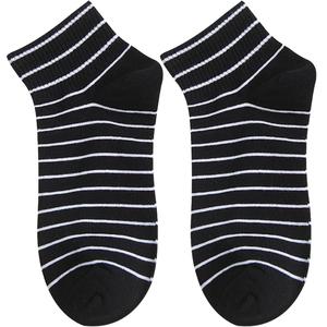 黑色爱心条纹纯棉浅口运动女短袜