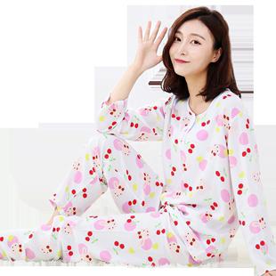 女士长袖韩版甜美人造棉睡衣