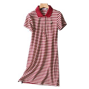 夏季休闲中长款带领修身条纹连衣裙